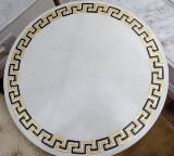 Photo Marble Coffee Table. White Colour Versace Style